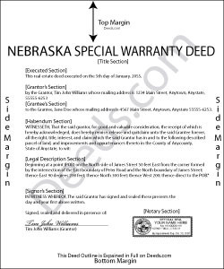 Nebraska Special Warranty Deed Form