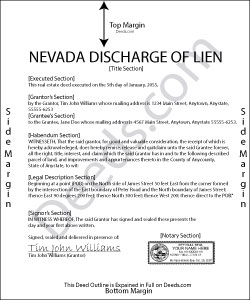 Nevada Discharge of Lien Form