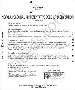 Nevada Personal Representative Deed of Distribution Form