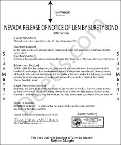 Nevada Release of Notice of Lien by Surety Bond Form
