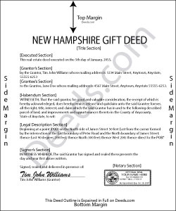 New Hampshire Gift Deed Form