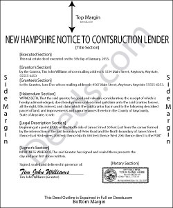 New Hampshire Notice to Construction Lender Form