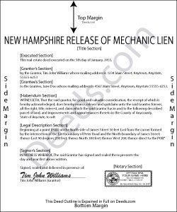 New Hampshire Release of Mechanic Lien Form