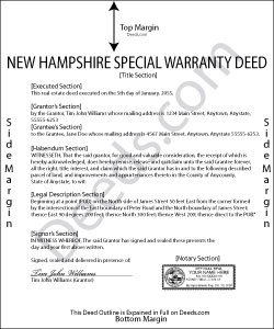 New Hampshire Special Warranty Deed Form