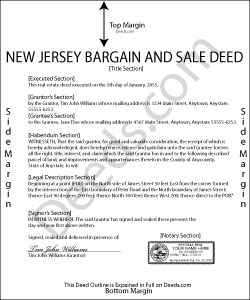 New Jersey Bargain and Sale Deed Form