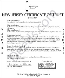 New Jersey Certificate of Trust Form