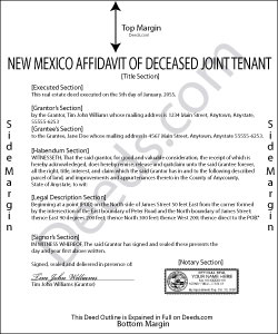New Mexico Affidavit of Deceased Joint Tenant Form