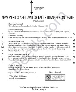 New Mexico Affidavit of Facts as to Death Form