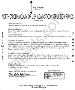 North Carolina Claim of Lien Against Construction Funds Form