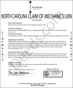 North Carolina Claim of Mechanics Lien Form