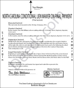 North Carolina Conditional Waiver on Final Payment Form