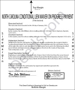 North Carolina Conditional Lien Waiver on Progress Payment Form