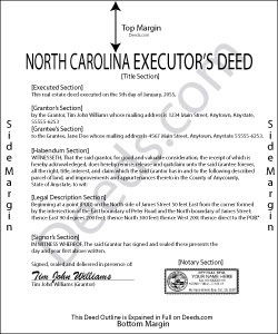 North Carolina Executor Deed Form