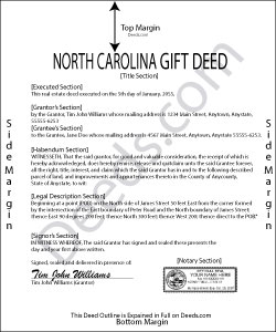 North Carolina Gift Deed Form