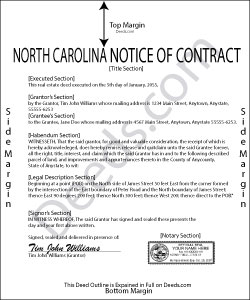 North Carolina Notice of Contract Form