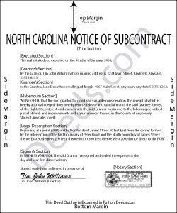 North Carolina Notice of Subcontract Form