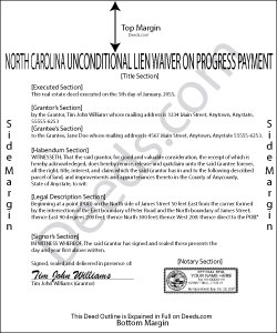 North Carolina Unconditional Waiver on Progress Payment Form
