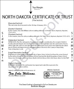 North Dakota Certificate of Trust Form