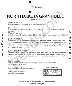North Dakota Grant Deed Form
