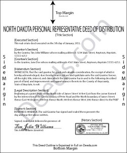 North Dakota Personal Representative Deed of Distribution Form