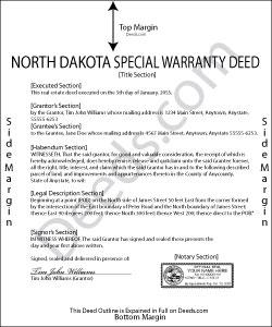 North Dakota Special Warranty Deed Form