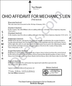 Ohio Affidavit for Mechanic Lien Form