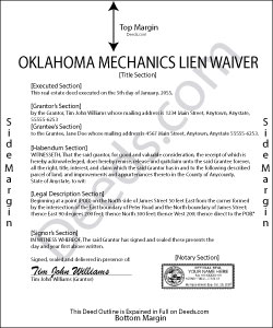 Oklahoma Mechanics Lien Waiver Form