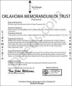 Oklahoma Memorandum of Trust Form