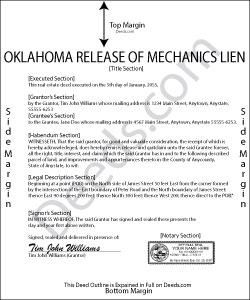 Oklahoma Release of Mechanic Lien Form
