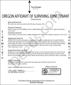 Oregon Affidavit of Surviving Joint Tenant Form