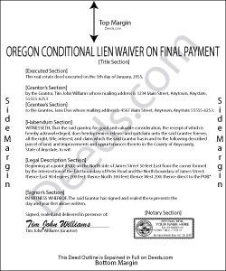 Oregon Conditional Lien Waiver on Final Payment Form