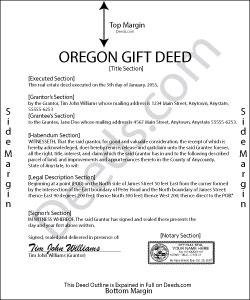Oregon Gift Deed Form