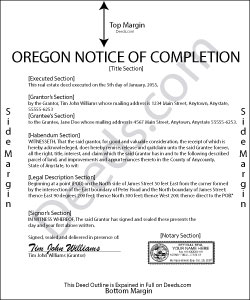 Oregon Notice of Completion Form