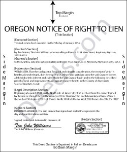 Oregon Notice of Right to Lien Form