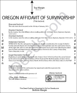Oregon Transfer on Death Affidavit of Survivorship Form