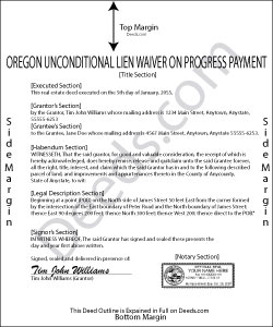 Oregon Unconditional Lien Waiver on Progress Payment Form