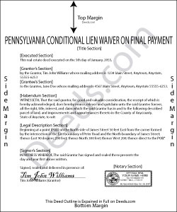 Pennsylvania Conditional Lien Waiver on Final Payment Form