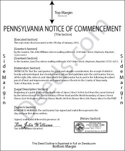 Pennsylvania Notice of Commencement Form