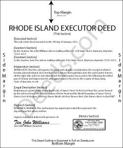 Rhode Island Executor Deed Form