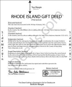 Rhode Island Gift Deed Form
