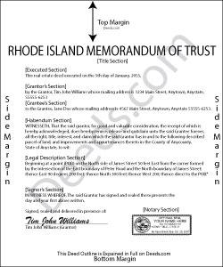 Rhode Island Memorandum of Trust Form