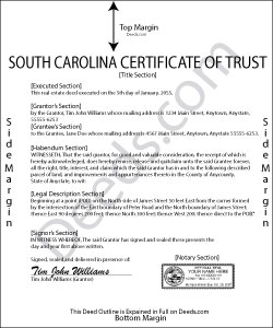 South Carolina Certificate of Trust Form