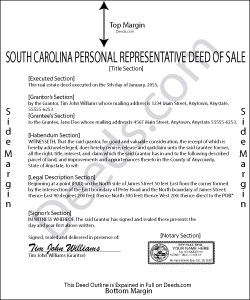 South Carolina Personal Representative Deed of Sale Form