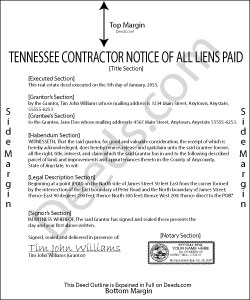Tennessee Contractor Notice of All Liens Paid Form