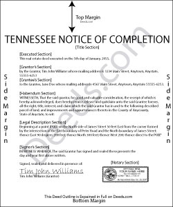 Tennessee Notice of Completion Form