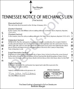 Tennessee Notice of Mechanics Lien Form