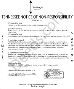 Tennessee Notice of Spousal Non-Responsibility Form