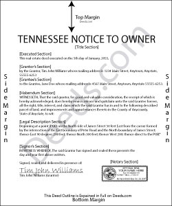 Tennessee Notice to Owner Form