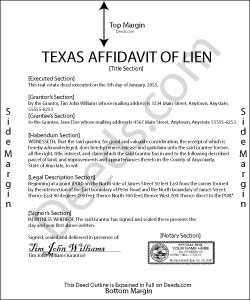 Texas Affidavit of Lien Form