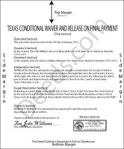 Texas Conditional Waiver and Release on Final Payment Form